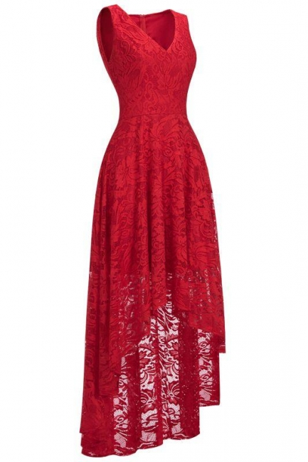 Red lace evening dresses | Pointed dresses women cheap