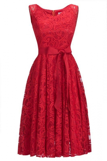 Gorgeous lace dresses women | Red short lace evening dresses