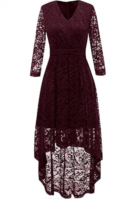 Festive dresses A line | burgundy dress with lace