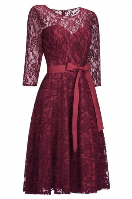 Lace dresses burgundy | Festive dresses evening dresses with sleeves