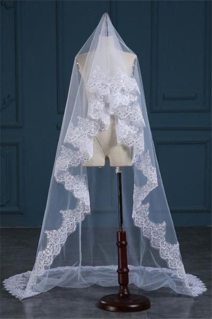 Wedding veil with lace | Ivory bridal veil