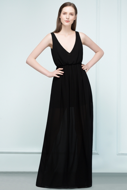 Simple evening dresses long black | Evening wear online