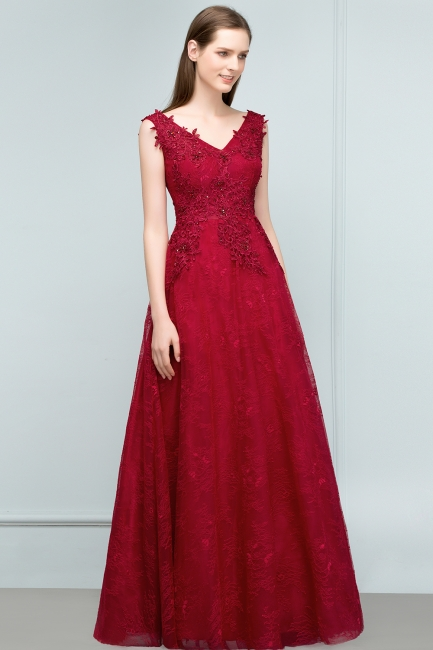 Red prom dresses | Evening dress long V neckline