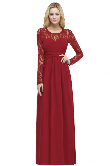 Red Prom Dresses Long Cheap | Evening dress lace sleeves