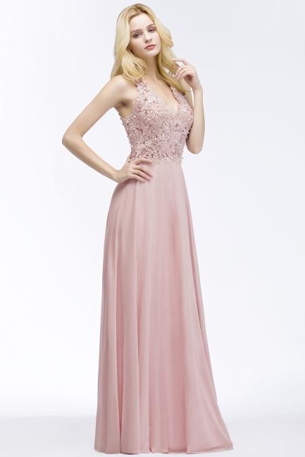 Abendkleider Lang V Ausschnitt | Abiballkleider Rosa