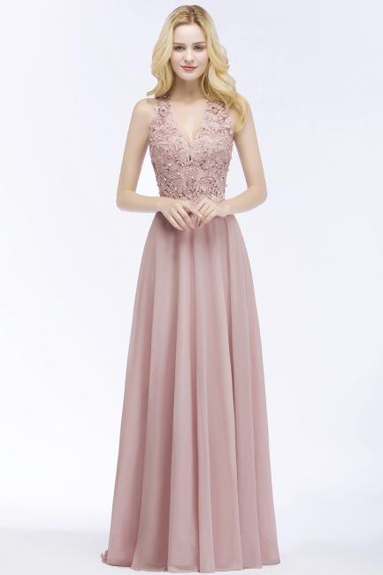 Rosa Brautjungfernkleider lang mit Spitze | Günstiges Brautjungfernkleid