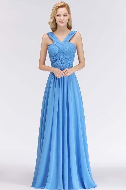 Schöne Brautjungfernkleider Lang Blau   Chiffon Kleider Für Brautjungfern