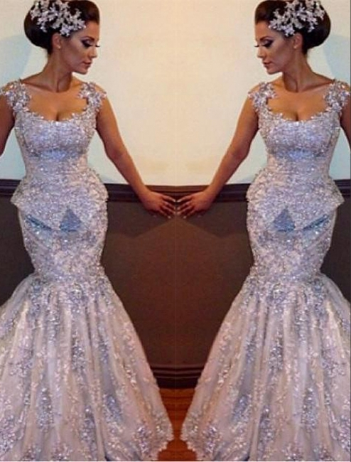 Silver Evening Dress Lace Crystal Mermaid Evening Wear Prom Dresses Cheap