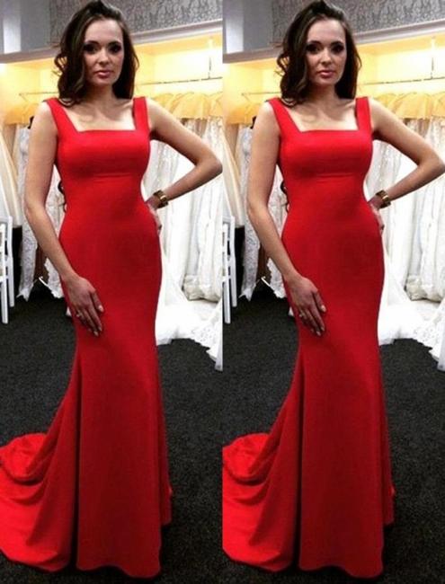 Red Evening Dresses Long Cheap Satin Floor Length Evening Dresses Prom Dresses