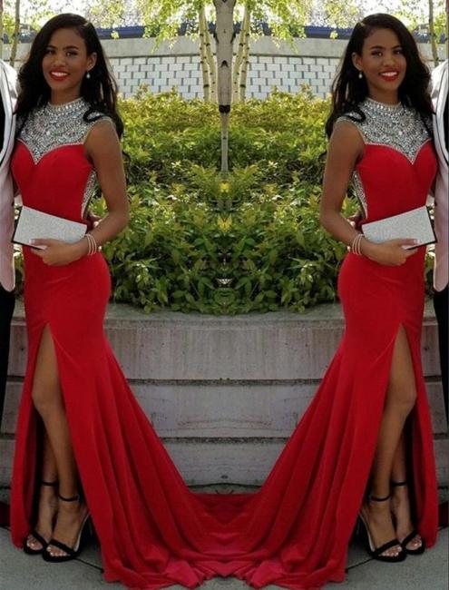 Red Prom Dresses Long Crystal Mermaid Satin Evening Wear Prom Dresses