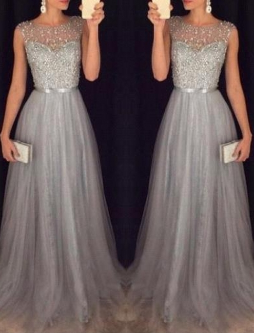 Elegant Evening Dresses Silver Long Cheap Tulle Beaded Evening Wear Prom Dress
