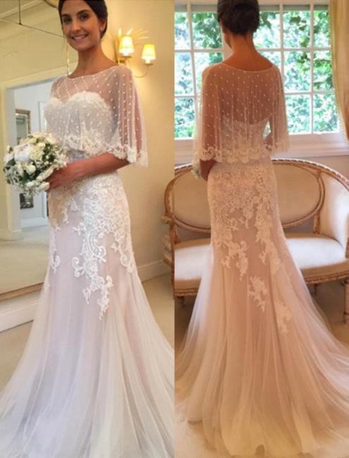 White wedding dresses lace with stole mermaid bridal wedding dresses
