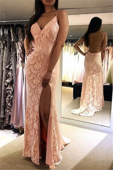 Evening Dress Long Pink Cheap | Evening dresses lace elegant