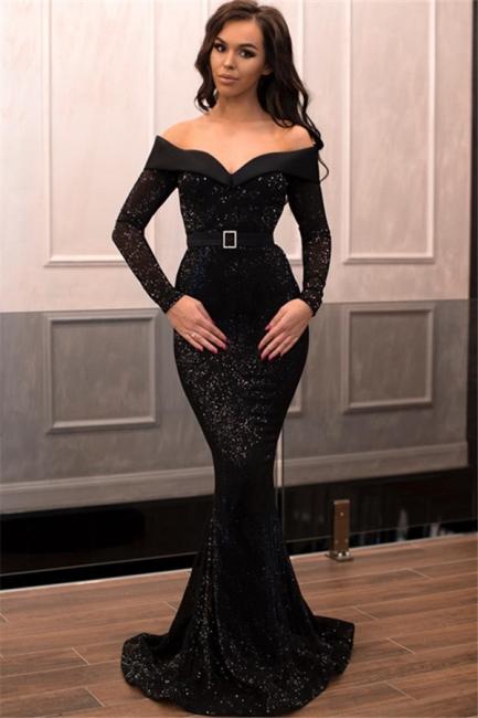 Designer Evening Dresses Long Black | Evening dress with sleeves