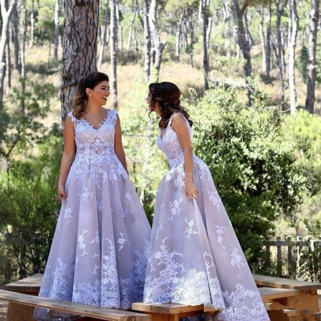 Lila Brautjungfernkleider Lang Günstig | Kleider Brautjungfern mit Spitze