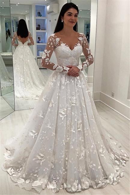 Designer Brautkleid A linie Mit Ärmel | Hochzeitskleid Spitze