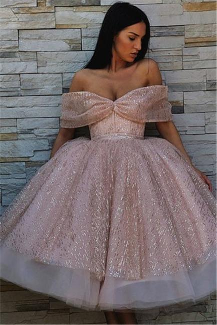 Elegante Cocktailkleider Rosa | Kurze Abendkleider mit Glitzer