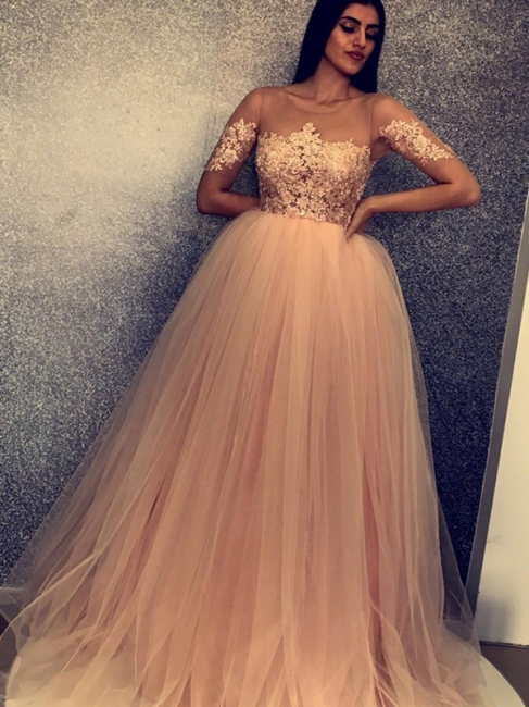 Designer evening dress with sleeves | Prom dress lace online
