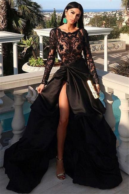 Fashion Abendkleider Lang Günstig   Abendkleid Schwarz Lange Ärmel