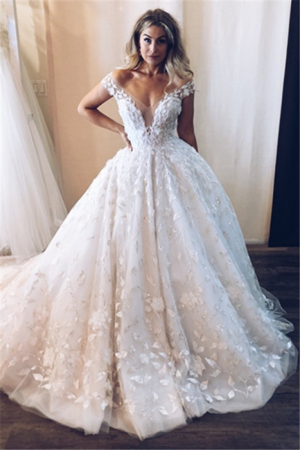 Elegant wedding dresses white lace | Wedding dress princess cheap
