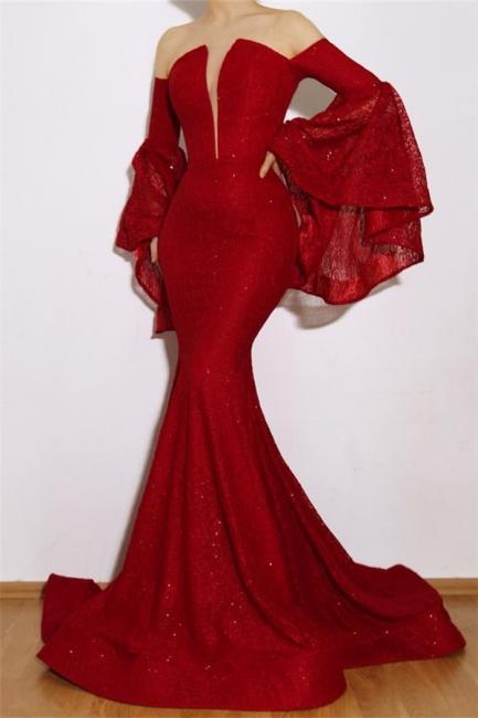 Günstige Abendkleider Lang Mit Ärmel | Rotes Abendkleid Online