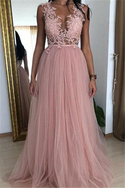 Modern evening dresses pink | Long prom dresses with lace