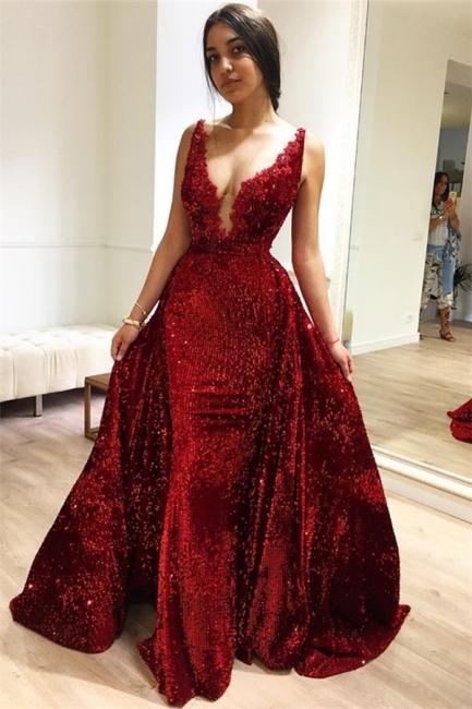 Elegant evening dresses long V neckline | Evening dresses with glitter