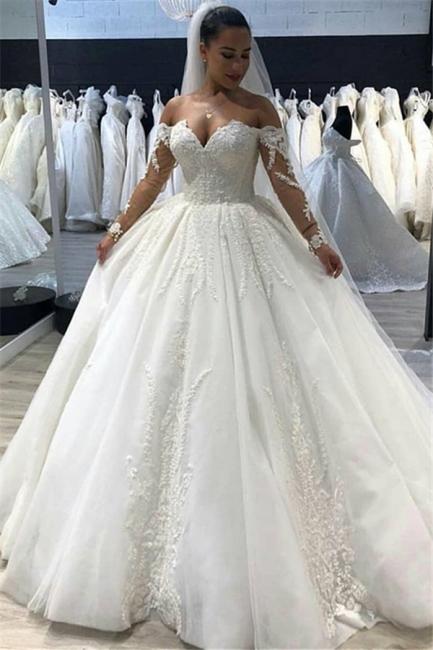 Günstige Brautkleid A Linie   Spitze Hochzeitskleider Mit Ärmel
