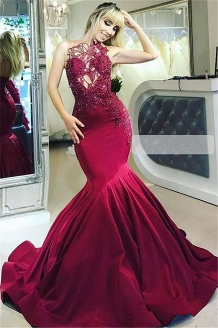 Elegant evening dresses long red | Evening wear with lace online