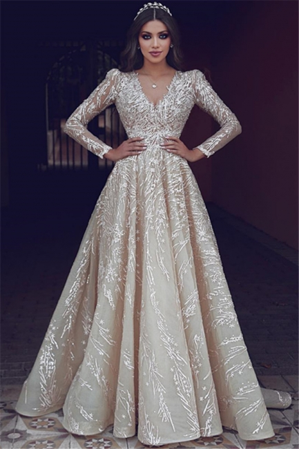 Elegant wedding dresses with lace sleeves | Wedding dresses A line