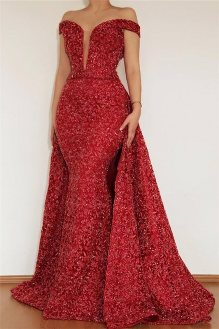 Elegant evening dresses with glitter | Evening dress long red online