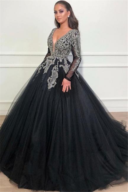 Günstige Abendkleider Lang Mit Ärmel | Abendmoden Schwarz Online Kaufen