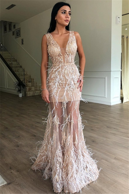 Luxury Long Prom Dresses Cheap | Ball gowns with feathers online