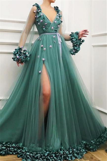 Elegant Evening Dresses Long V Neck | Green evening dress