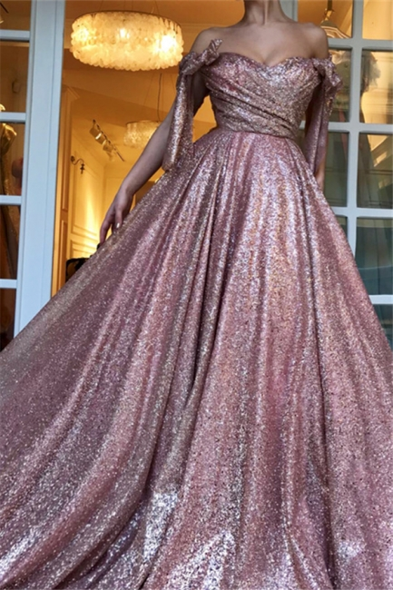 Elegant evening dresses long pink | Prom dresses with glitter
