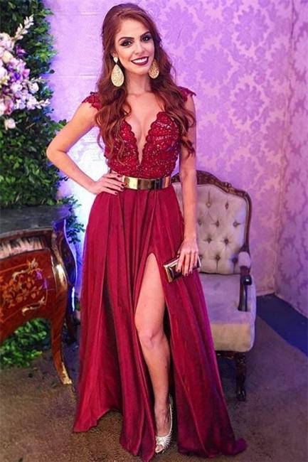 Elegant Evening Dresses Long V Neck | Evening dress with lace
