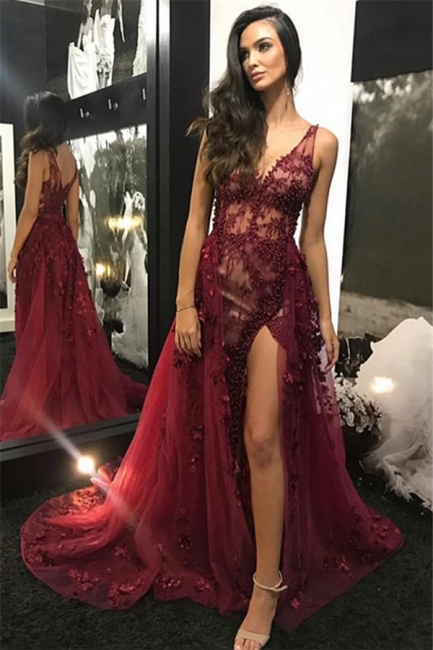 Chic evening dresses long v neckline | Elegant evening wear lace