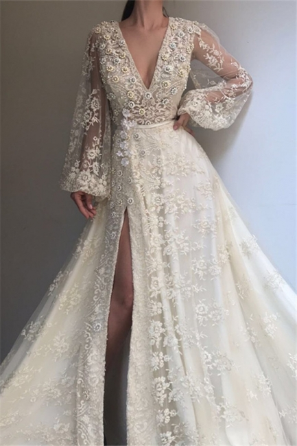 Elegant evening dresses long white | Lace evening wear with sleeves