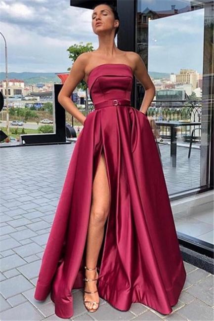 Modern Abendkleider Lang Schlicht | Weinrot Abendkleid Online