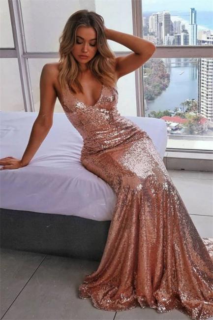 Rosa Gold Abendkleider mit Glitzer | Schlichtes Abendkleid