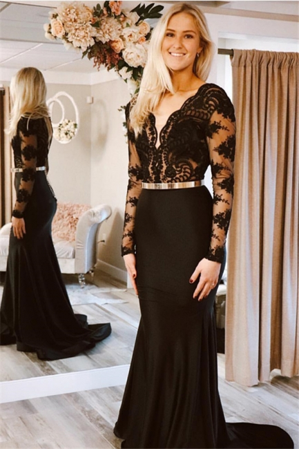 Designer Evening Dresses Long Black | Lace prom dresses with sleeves