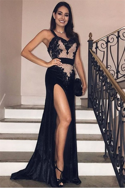 Elegant Evening Dresses Long Black | Evening wear with lace online