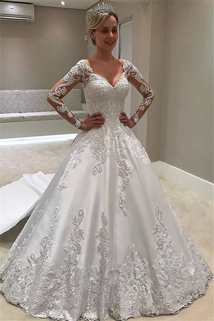 Formal Sweetheart Long Sleeve Satin Wedding Gowns With Lace