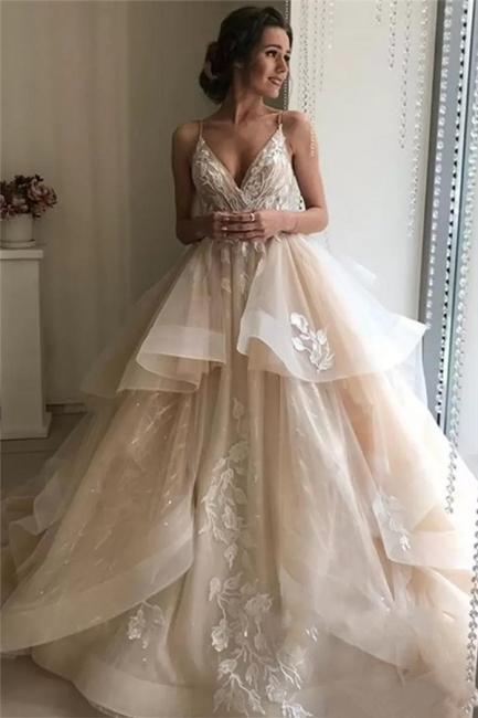 Elegante Brautkleider A linie | Champagne Hochzeitskleider mit Spitze