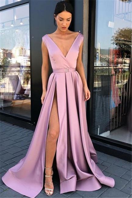 Evening dresses long V neckline | Pink evening dress cheap