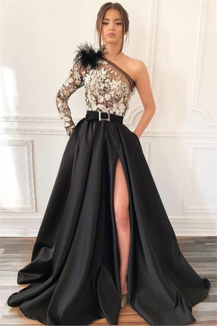 Elegant Evening Dresses Long Black | Evening wear with lace sleeves