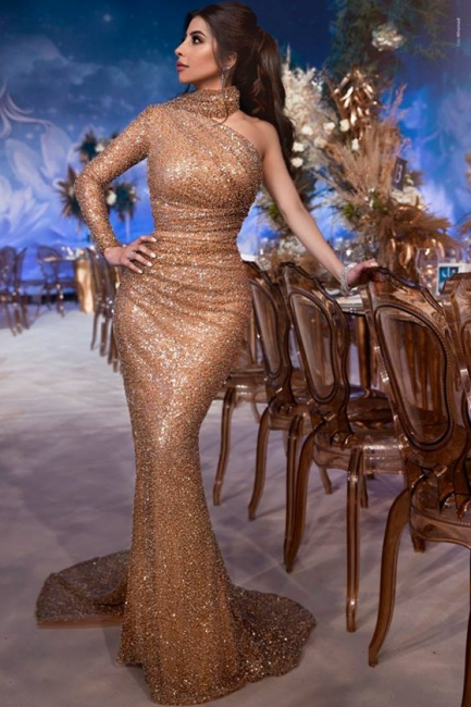 Luxury evening dress with sleeves | Long evening dresses with glitter