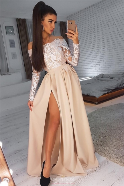 Champagne evening dresses with sleeves | Long prom dresses with lace