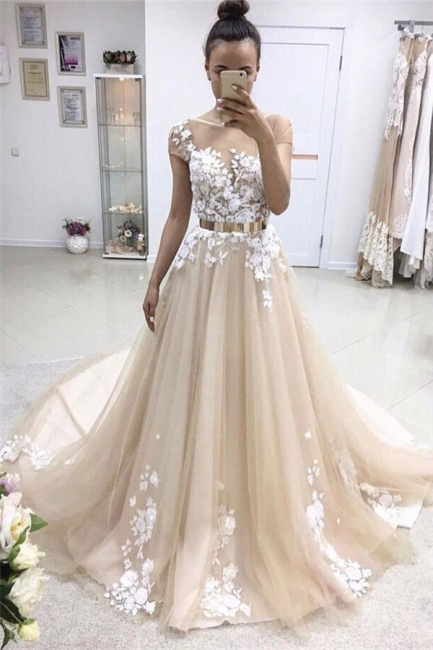 Champagne Wedding Dress A Line With Lace | Wedding Dresses Cheap Online
