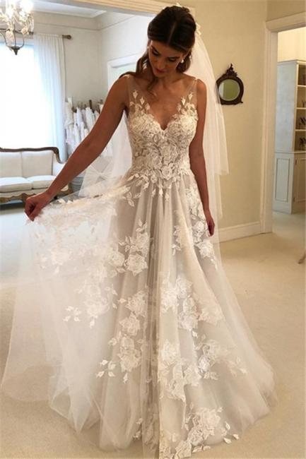 Simple V Neck Sleeveless A Line Lace Boho Wedding Dresses